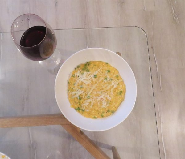 Pea and Parmesan risotto with red wine