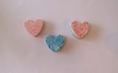 Homemade heart-shaped bath bombs